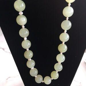 "Vintage Jade Ball Pearl Choker Necklace HEAVY 12"""